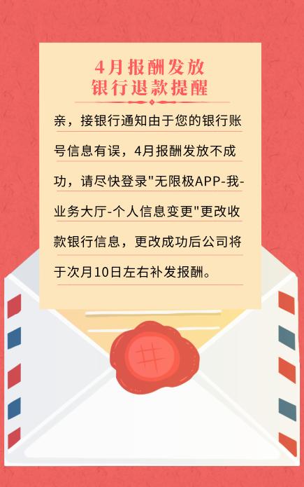 04月报酬发放银行退款提醒