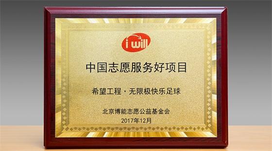 """无限极快乐足球项目荣获""""中国志愿服务好项目""""认证"""