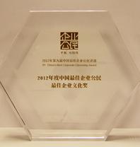 """我司荣获""""2012年度中国最佳企业公民?最佳企業文化奖"""""""